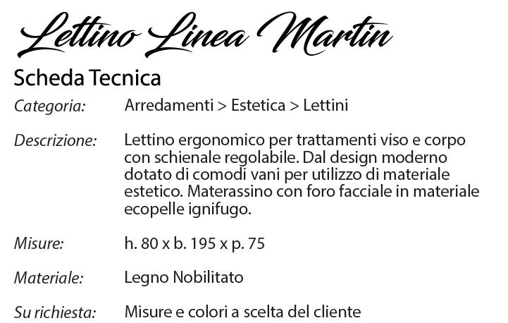 scheda tecnica lettino martin