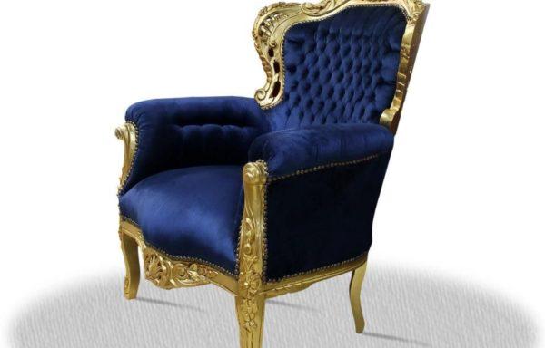 Poltrona Barocca Oro Blu