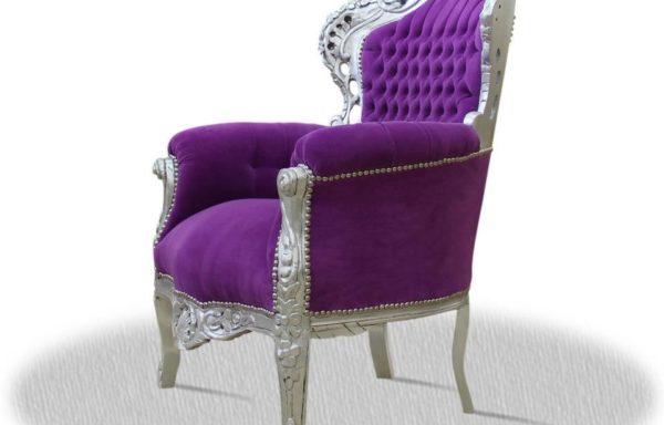 Poltrona Barocca Argento Viola