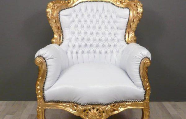 Poltrona Barocco Oro Bianca